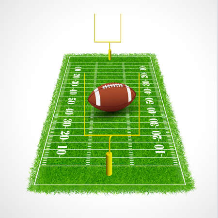 goalpost: American football field perspective view with realistic grass textured, Vector illustration