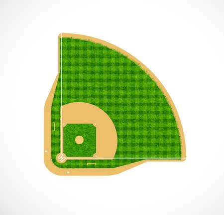 felder: Baseball-Feld mit echtem Gras texturierte, Vektor-Illustration