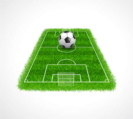 football pitch: Perspective view of an empty soccer field with realistic grass texture, Vector illustration