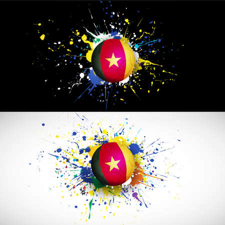 cameroon: cameroon flag with soccer ball dash on colorful background