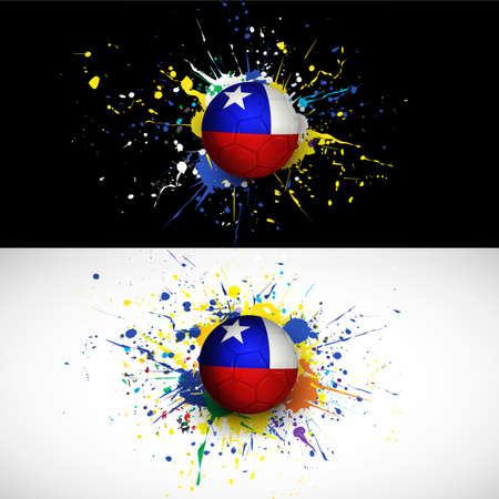 bandera de chile: bandera de Chile con la rociada bal�n de f�tbol en el fondo de colores Vectores