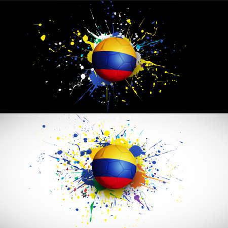 bandera de colombia: bandera de Colombia con la rociada balón de fútbol en el fondo de colores