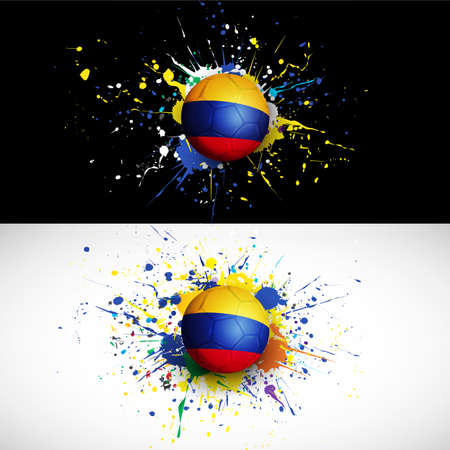 colombia flag with soccer ball dash on colorful background Vector