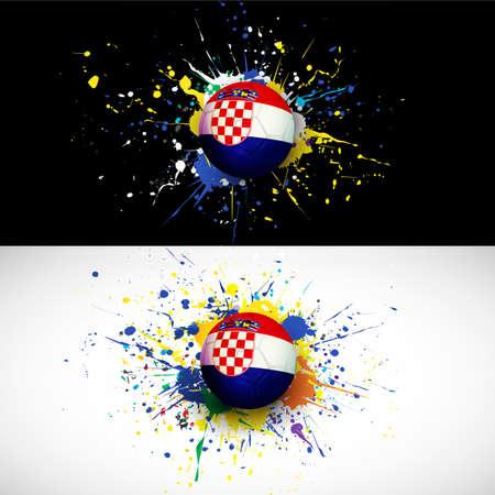 croatia flag: croatia flag with soccer ball dash on colorful background