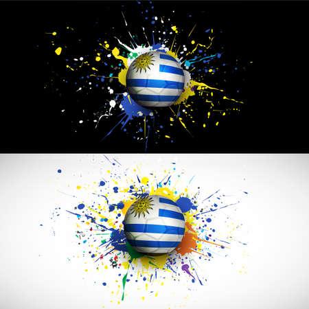 bandera de uruguay: bandera de Uruguay con la rociada balón de fútbol en el fondo de colores Vectores