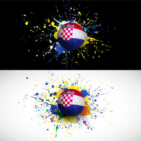 bandera de croacia: croacia, marca con guión balón de fútbol sobre fondo de colores,