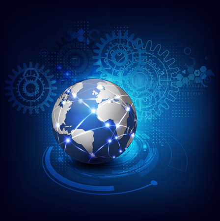 digital globe: World communication and technology futuristic background, vector illustrator Illustration