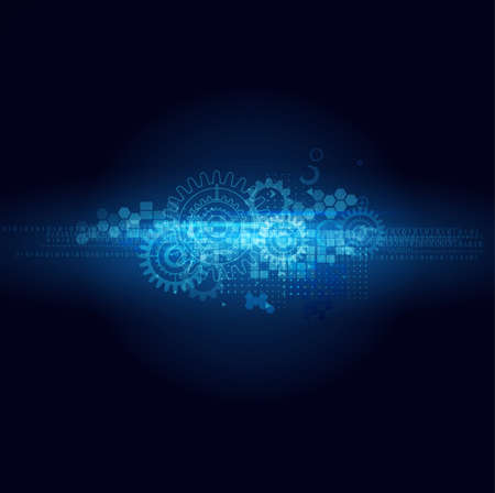gear: Abstract futuristic motion blurred and gear technology line isolated black background, vector illustration