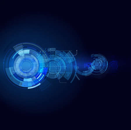 digital data: Abstract futuristic motion blurred and circuit technology line isolated black background, vector illustration