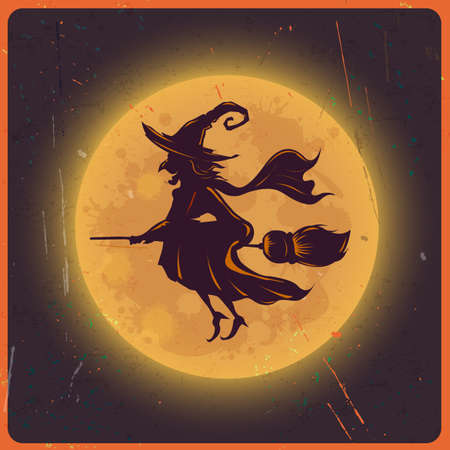 Halloween background with silhouette witch against moon vintage grunge background, Vector & illustration