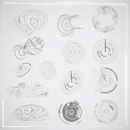dibujo tecnico: Tecnología abstracta elemento de dibujo ilustración Vectores