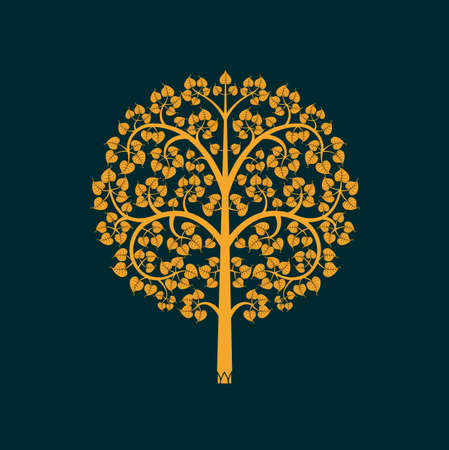 thai buddha: Golden Bodhi tree symbol with Thai style isolate on black background Illustration