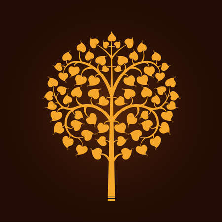 Golden Bodhi tree symbol with Thai style isolate on black background Vector