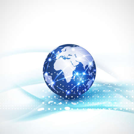 web elements: World network communication and technology concept motion flow background illustration Illustration