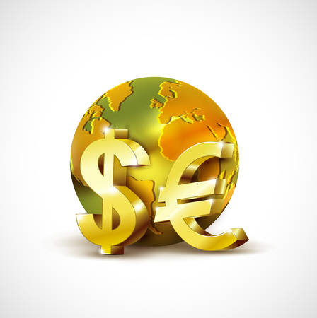 global currencies: World economic concept with 3d gold world dollar and euro currency isolated on white background Illustration