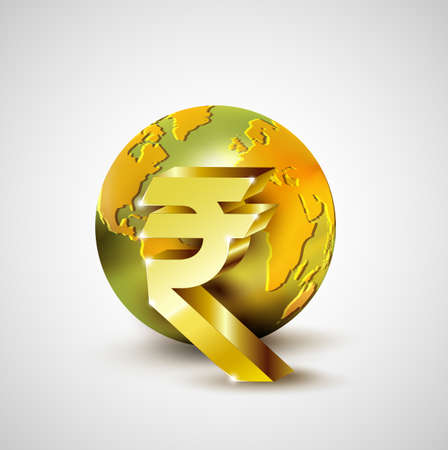 rupee: World economic concept with 3d gold world and Rupee currency isolated on white background Illustration
