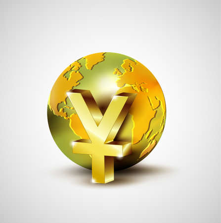 yuan: World economic concept with 3d gold world and Yuan currency isolated on white background Illustration