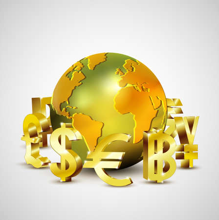 world currency symbols moving around 3d golden world, vector illustration Vector