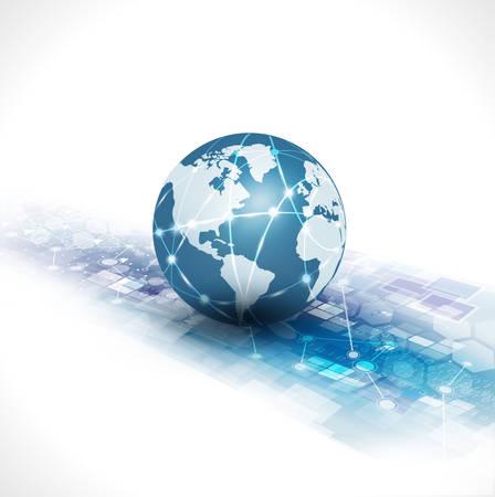 communication world & technology business  flow motion isolate white background, vector illustration