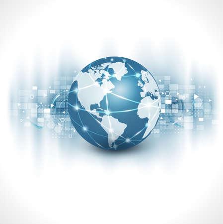 通信世界・技術ビジネス フロー モーション分離白背景、ベクトル イラスト