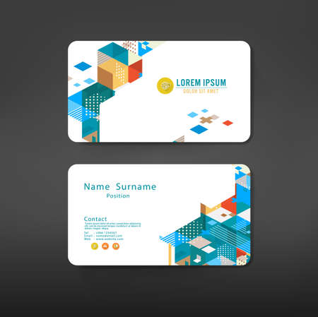 namecard: geometric business cards design template layout, vector illustration Illustration