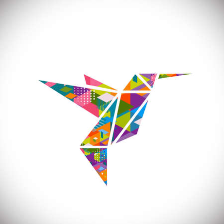 humming: Humming bird symbol with colorful geometric graphic in triangle concept isolated white background, vector illustration