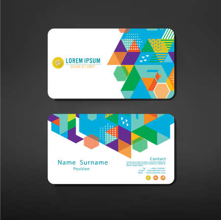 namecard: colorful geometric business cards design template layout, vector illustration
