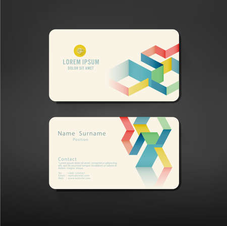 business cards artwork with colorful geometric template, vector illustration Stock Vector - 37642753