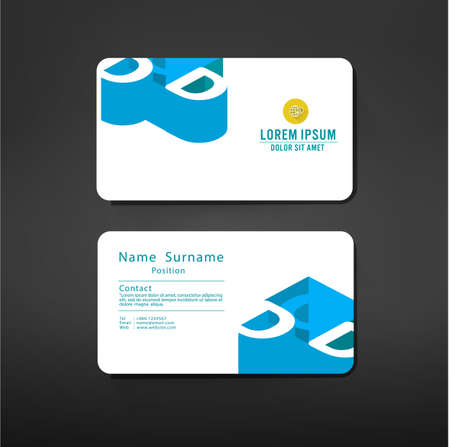 d: business cards template layout with D alphabet symbol modern geometric graphic design, vector illustration