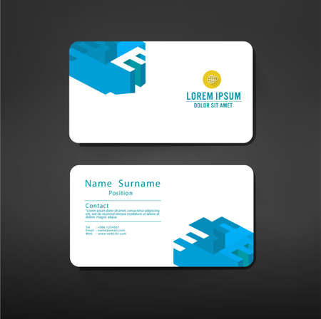 e business: business cards template layout with E alphabet symbol modern geometric graphic design, vector illustration Illustration