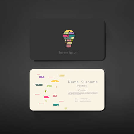 card symbols: business cards creative template back and front layout with bulb symbol separate and compound idea modern geometric design, vector illustration