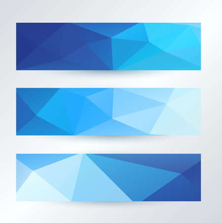 set of bright blue triangles pattern banners template, vector illustration Иллюстрация