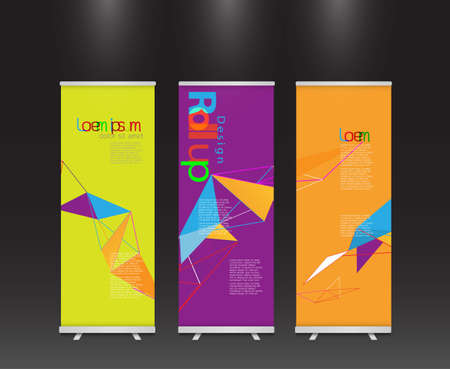 roll up: set of modern colorful roll up display banner with colorful geometric line template layout, vector illustration