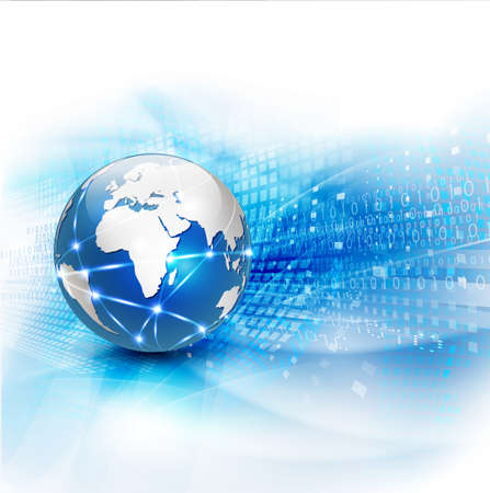 World network communication and technology concept motion flow background Ilustrace