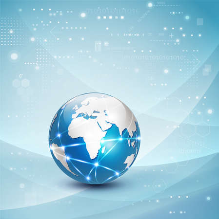 World network communication and technology concept motion flow background Ilustração