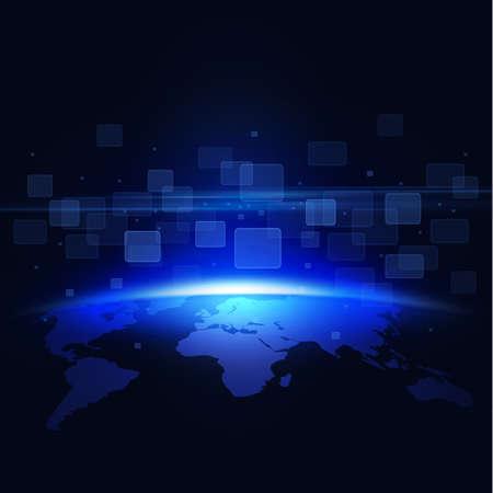 tecnologia comunicacion: mundo y el movimiento de fondo cuadrado transparente para la tecnolog�a de la comunicaci�n o la ciencia concepto de ilustraci�n vectorial Vectores