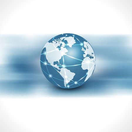 global business: communication world  technology with flow motion isolate white background vector illustration Illustration