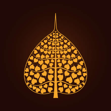 golden Bodhi leaf symbol in Thai art style isolate on black background vector illustration Vettoriali