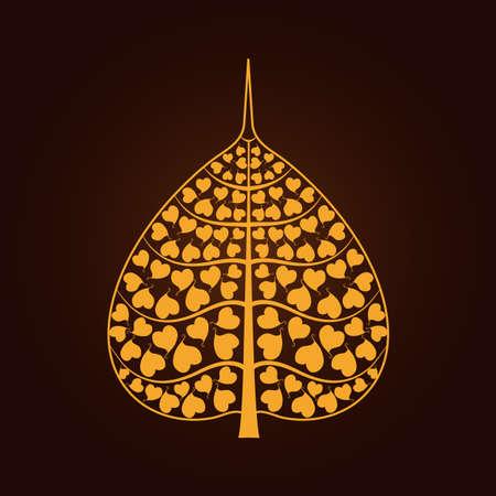 buddha tranquil: golden Bodhi leaf symbol in Thai art style isolate on black background vector illustration Illustration