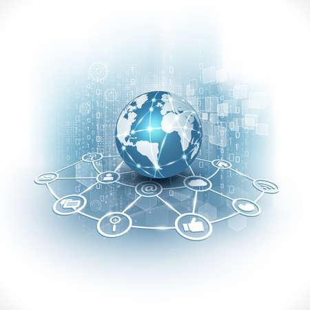 world of technology: communication world  technology business  flow motion isolate white background vector illustration Illustration