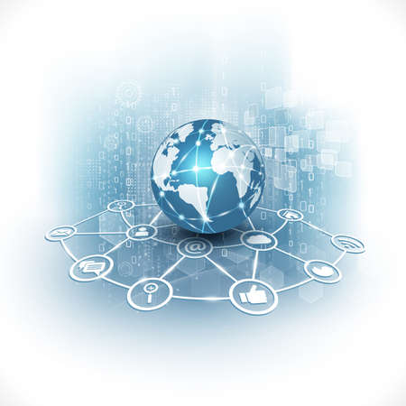 communication world  technology business  flow motion isolate white background vector illustration Illustration
