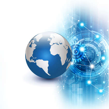 contact information: futuristic world network communication and technology concept on motion flow background