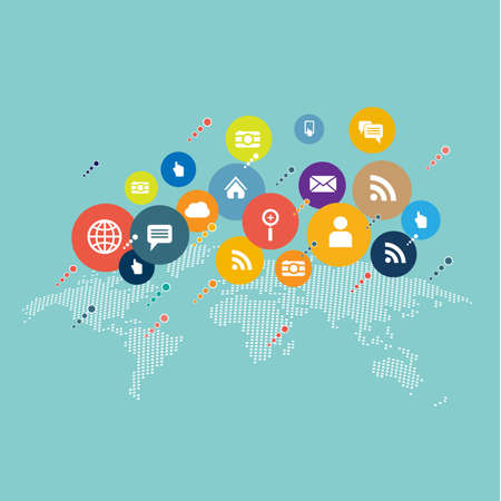 Flat icons for social media and network connection concept and world map dot. Vector illustration Фото со стока - 41200178