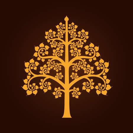 Golden Bodhi tree symbol with Thai style isolate on black background vector illustration Stock Illustratie