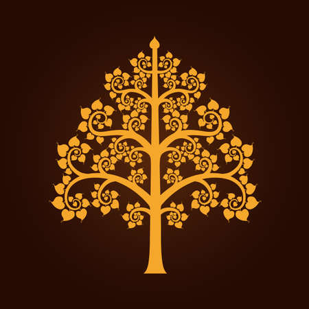Golden Bodhi tree symbol with Thai style isolate on black background vector illustration Vettoriali