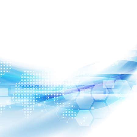 技術: 摘要流藍色背景的技術或科學概念呈現矢量插圖 向量圖像