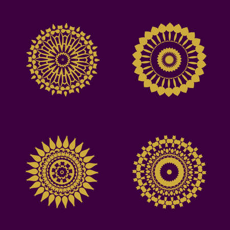 asia style: abstract pattern circles with bodhi concept asia art style isolate on black background, vector illustration