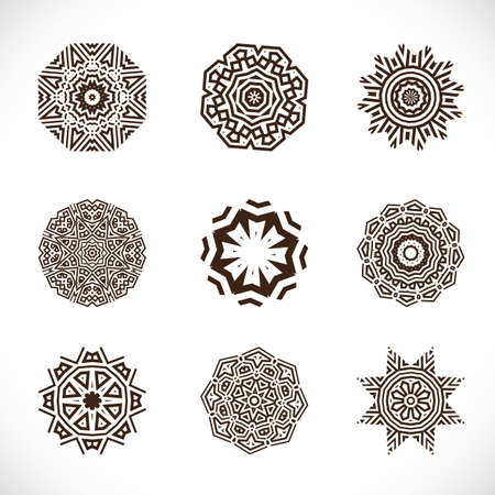 star tattoo: set of abstract geometric pattern element, vector illustration