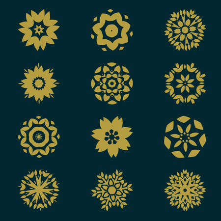 patron de circulos: set of circles pattern with leaf and floral concept isolate on background, vector illustration
