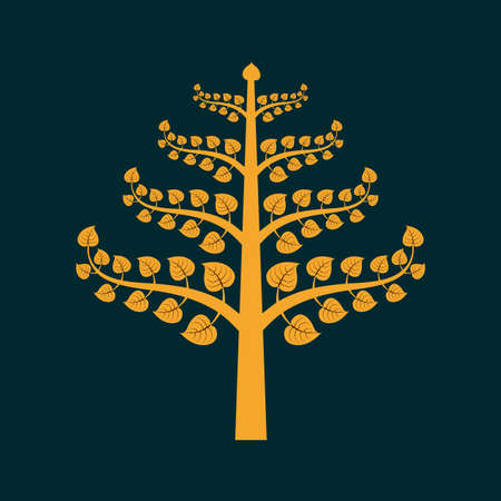 buddha tranquil: Golden Bodhi tree symbol with Thai style isolate on black background, vector illustration Illustration